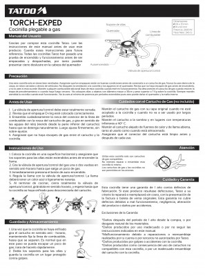 INSTRUCCIONES DE USO - Tatoo Torch Exped