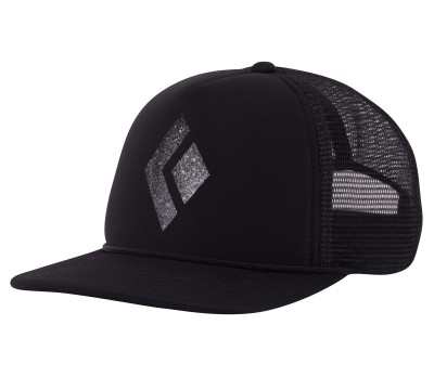 Black-White - Black Diamond Flat Bill Trucker Hat