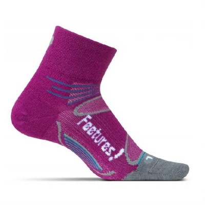 BERRY/WHITE - Feetures Elite Merino + Ultra Light Quarter