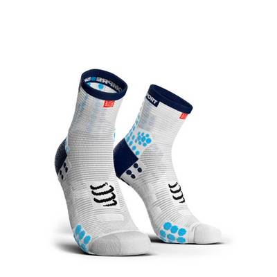 White/Blue - Compressport Calcetín RUN HI V3 SMART