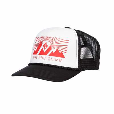 White-Fire Red - Black Diamond Flat Bill Trucker Hat