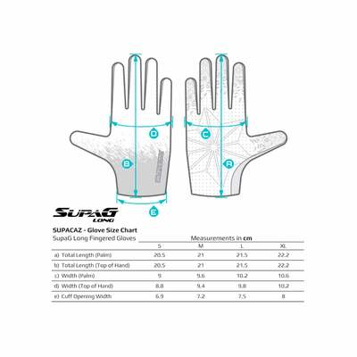 Tabla de tallas - Supacaz Supa G Long Glove Oil Slick