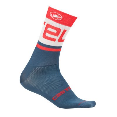 Light Steel Blue/Red - Castelli Free Kit 13 Sock