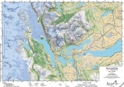 Aoneker Mapa Torres del Paine 1:100.000