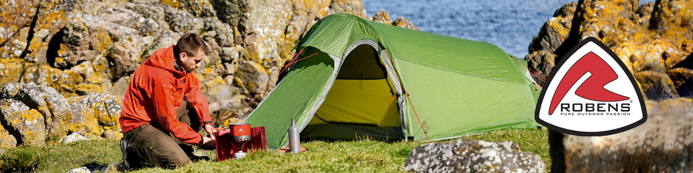 Robens: Marca finlandesa de equipo para trekking y montañismo como sacos de dormir de pluma, aislantes auto inflables y carpas de montañismo y trekking.