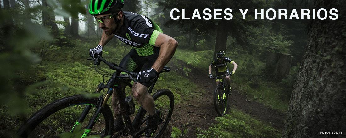 Clases y horarios de la escuela de ciclismo.