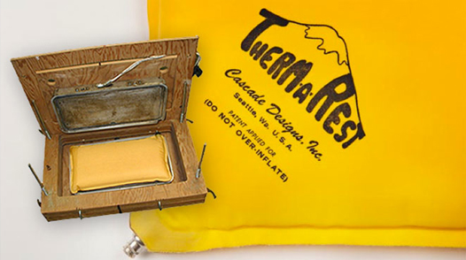 La primera prensa usada para la producción de los aislantes auto-inflables