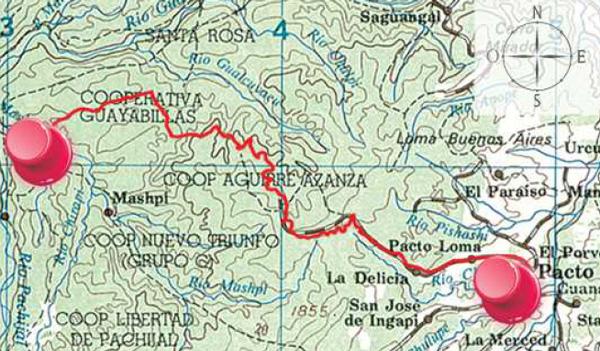 Mapa cartográfico Pacto - Mashpi