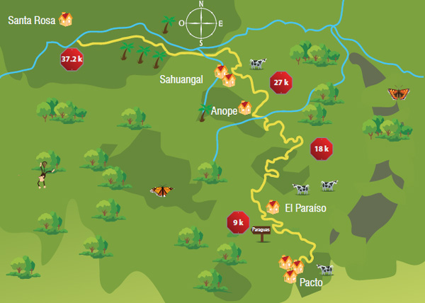 Mapa de la ruta, ubicado a aproximadamente 70kms de Quito en el noroccidente del Distrito Metropolitano de Quito