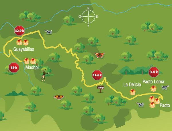 Mapa de la ruta que va desde Pacto a Mashpi