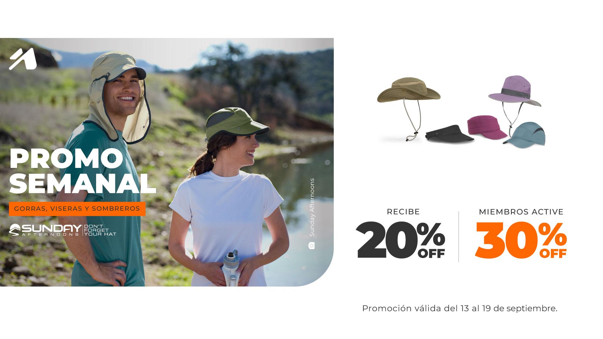 Promo semanal Chile: Gorras, viseros y sombreros de Sunday Afternoons.